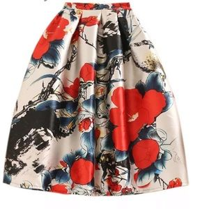 Retro puffy Skirt with flowers.